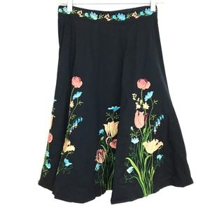 Persaman embroidered full skirt floral knee length